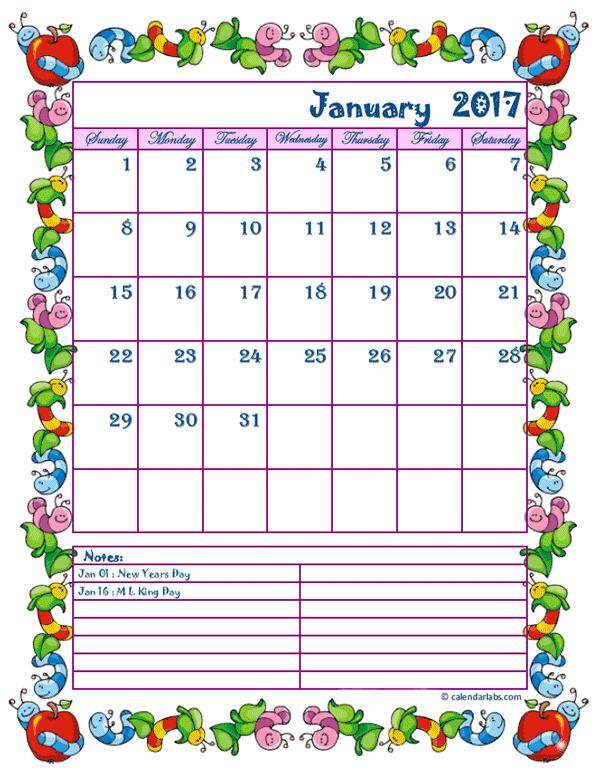 2017 Monthly Calendar Template Kid Kindergarten Kid