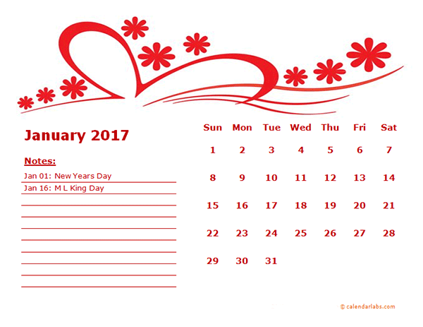 2017 Monthly Calendar Template Kindergarten