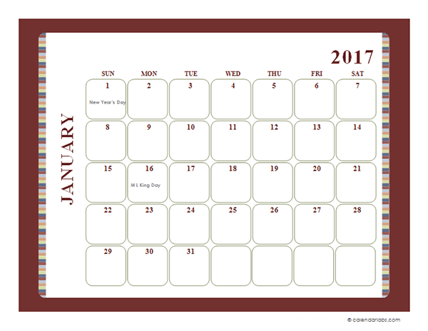 2017 Monthly Calendar Template Large Boxes - Free Printable Templates