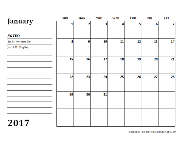 2017 monthly calendar template with notes