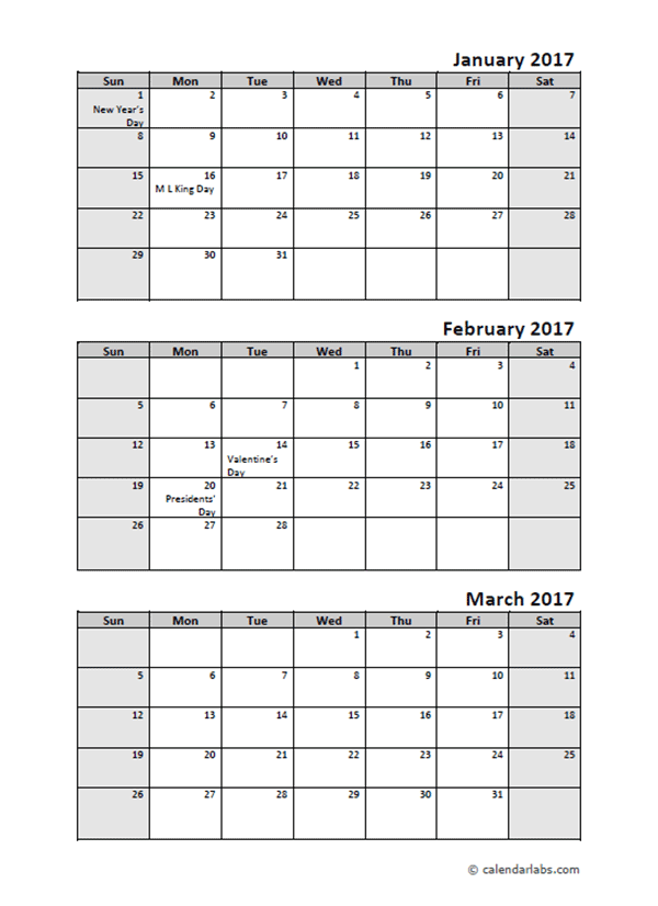 2017 Quarterly Calendar With Holidays - Free Printable Templates
