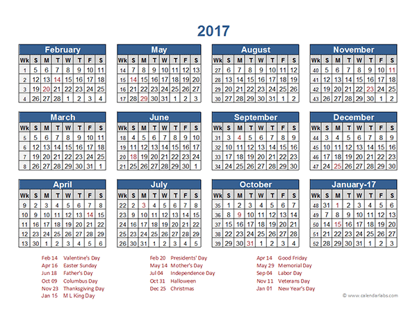 2017 Retail Accounting Calendar 4-4-5 - Free Printable Templates
