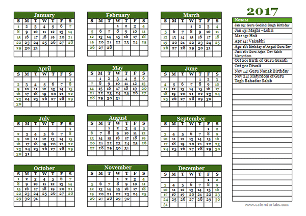 2017 Sikh Festivals Calendar Template