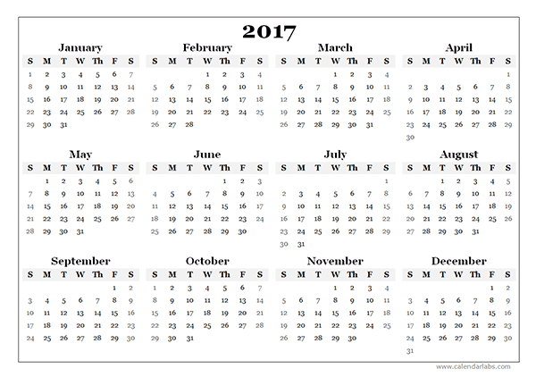 2017 Yearly Blank Calendar Template, Free Calendar 2017 Printable Template PDF