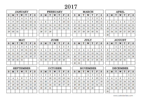2017 Yearly Calendar Landscape