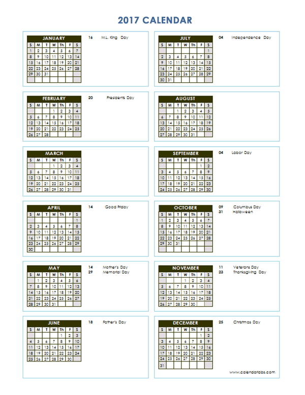 2017 Yearly Calendar Template Vertical 03