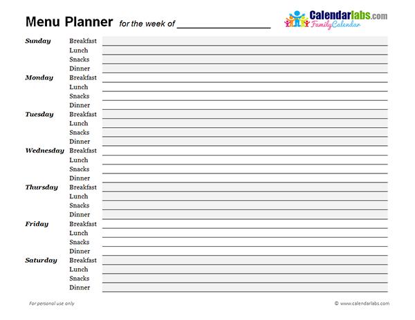 2017 Monthly Menu Planner Free Printable Templates – Free Weekly Menu Templates