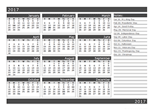 2017 12-Month Calendar Template One Page