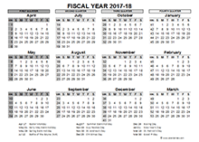 2017 fiscal calendar with months divided and marked in four quarters.