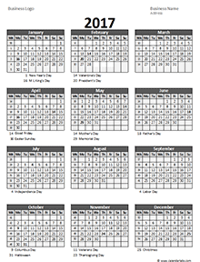Customizable yearly 2017 excel calendar with US holidays in portrait ...