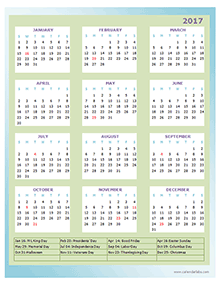 2017 Annual Calendar Design Template