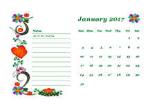 2017 blank calendar design