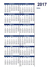 2017 blank calendar half page