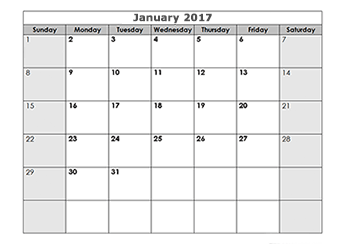 Printable 2017 blank monthly calendar template with large square boxes ...