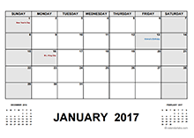 2017 Calendar With Holidays PDF