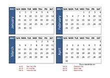 2017 four-month Australia calendar template