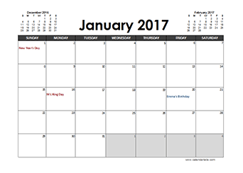 2017 Calendar Planner Australia holidays