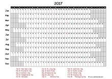 2017 excel calendar project