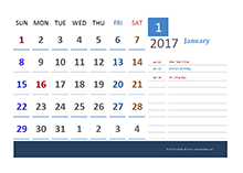 2017 Australia Calendar Vacation Tracking