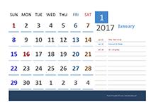 2017 Canada Calendar Vacation Tracking