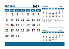 2017 Monthly Calendar with Australia Holidays