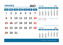 2017 Excel Calendar with UK Holidays