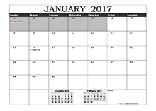 2017 Excel Calendar in Cell