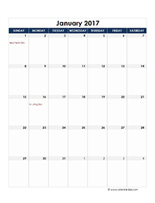 2017 Excel Monthly Calendar Template