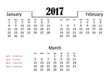 2017 Quarterly Calendar for UK