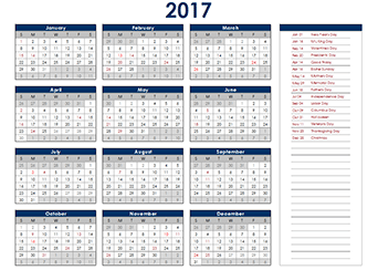 2017 Yearly Excel Calendar