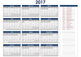 Yearly 2017 Calendar with UK public holidays