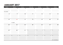 2017 Monthly Calendar Excel Template