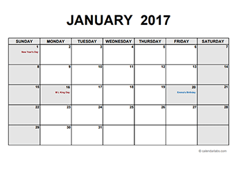 2017 Monthly Calendar PDF