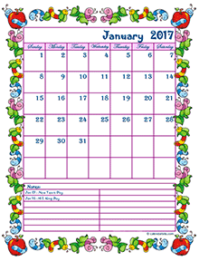 2017 monthly calendar for kindergarten kids