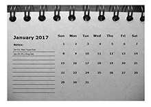 2017 Monthly Calendar Template Room for Notes