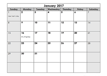 2017 monthly OpenOffice calendar Template