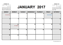 2017 Calendar With Holidays PDF - Free Printable Templates