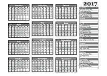 2017 OpenOffice yearly calendar template