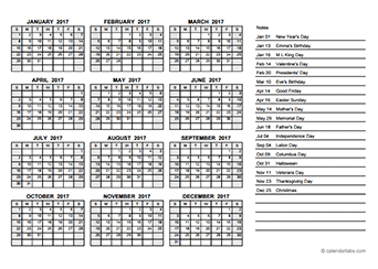 2017 Yearly Calendar PDF