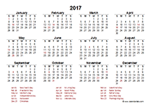 2017 Canada calendar template with public holidays