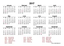 2017 UK calendar template with bank holidays