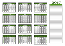 2017 Yearly Calendar With Blank Notes