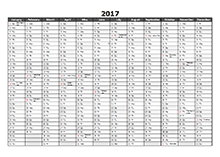 2017 Yearly Excel Scheduling Calendar