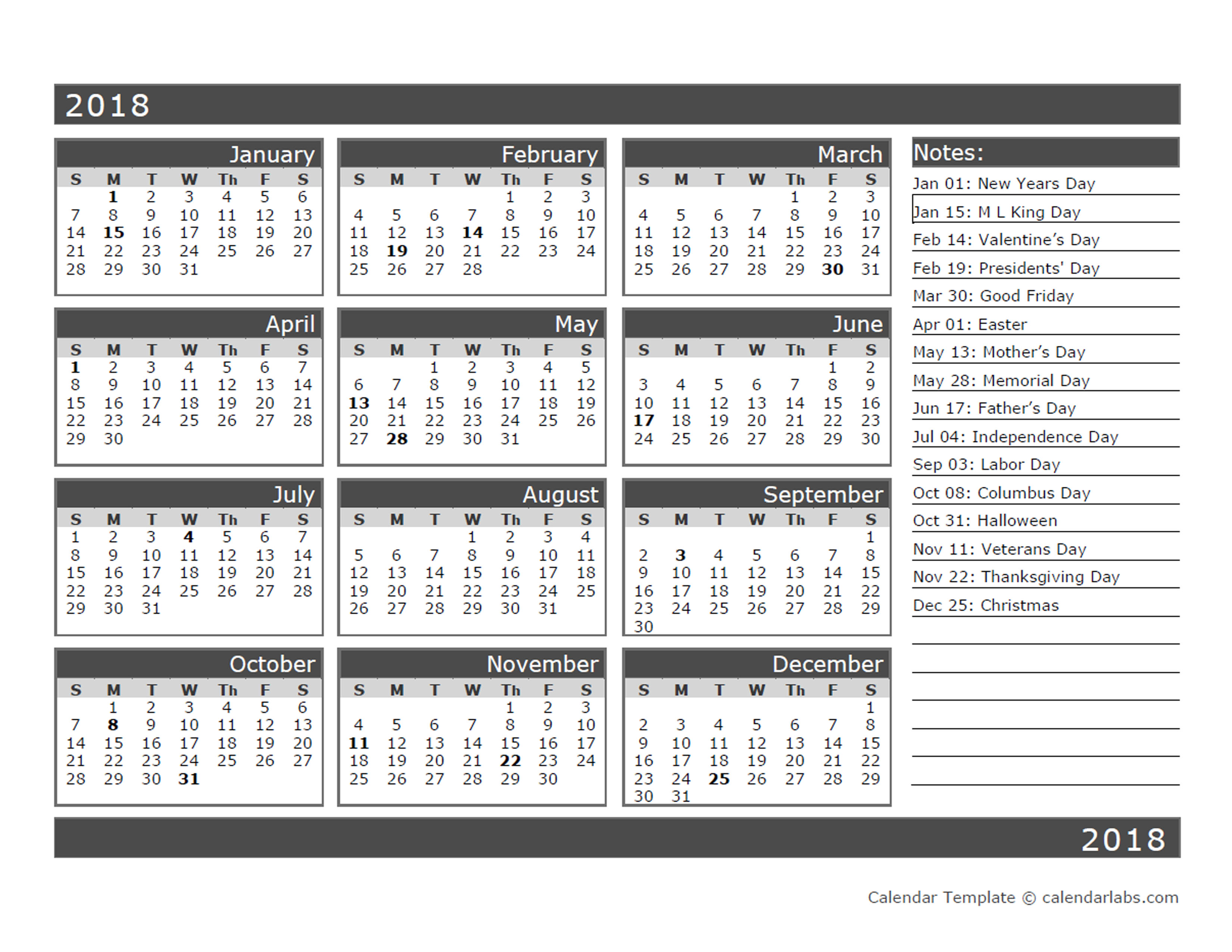 12 Month One Page Calendar Template For 2018 Free