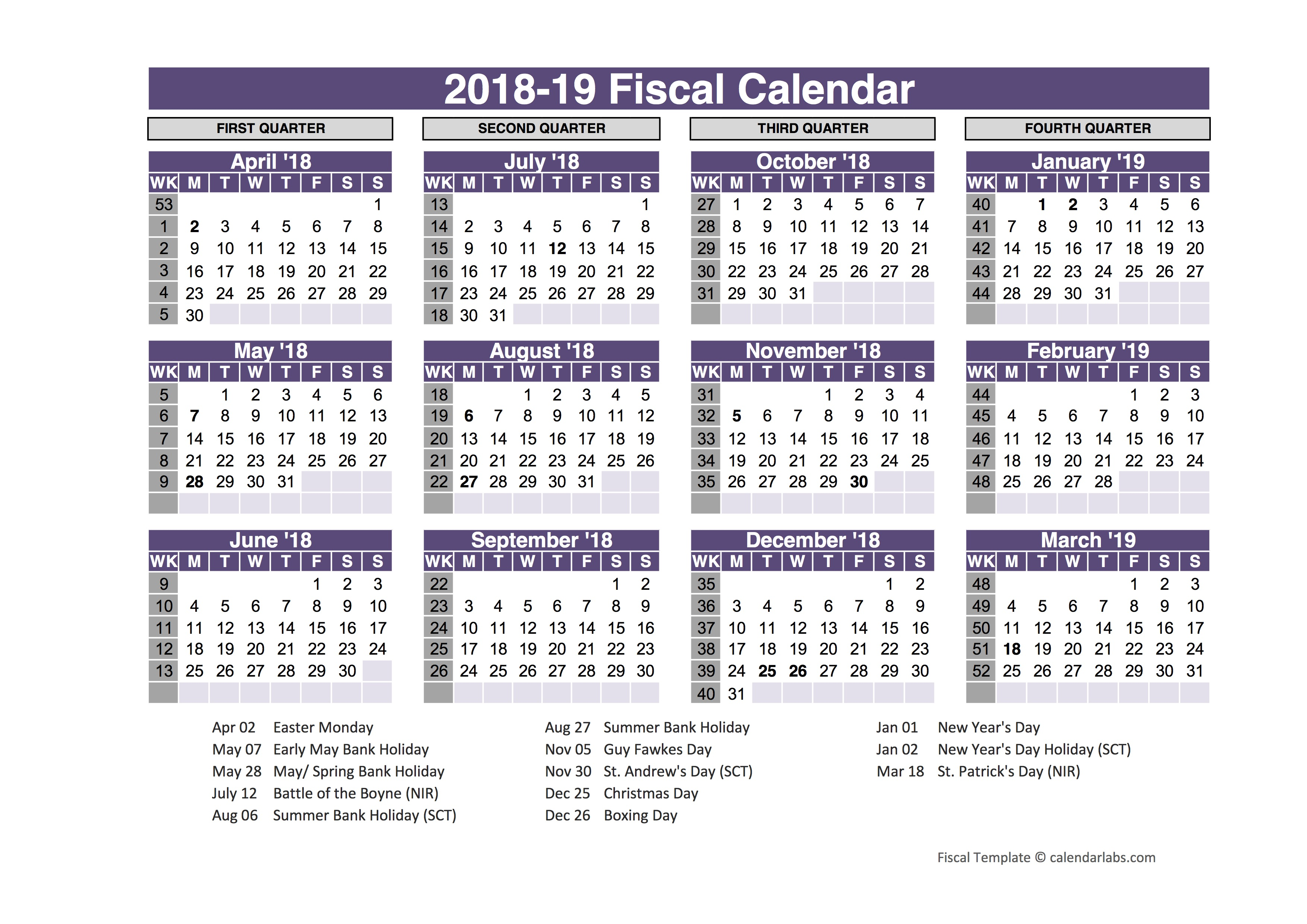 UK Fiscal Calendar Template 2018-19 - Free Printable Templates