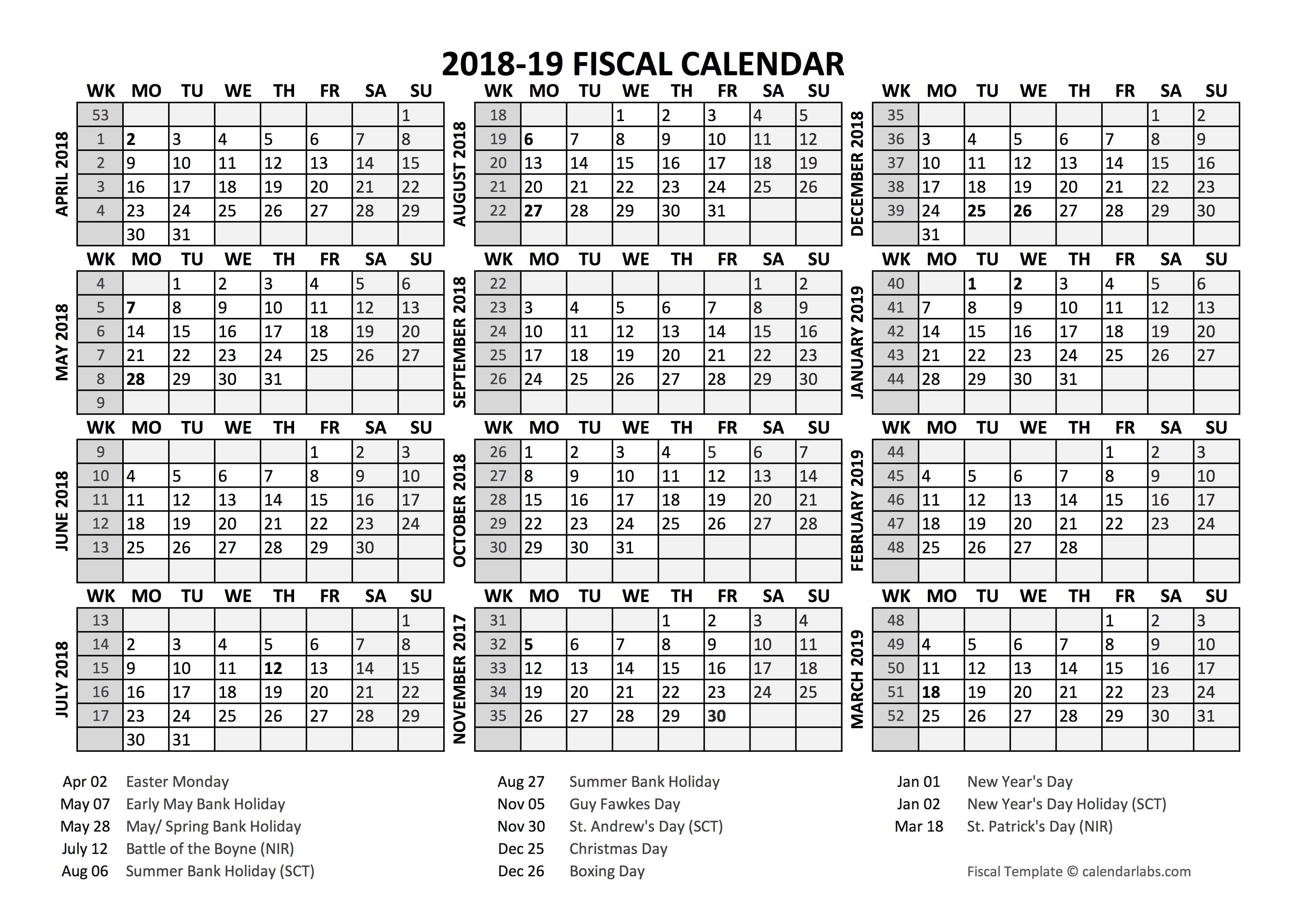 Fiscal Year Calendar Quarters : Fiscal calendar template starts at april free