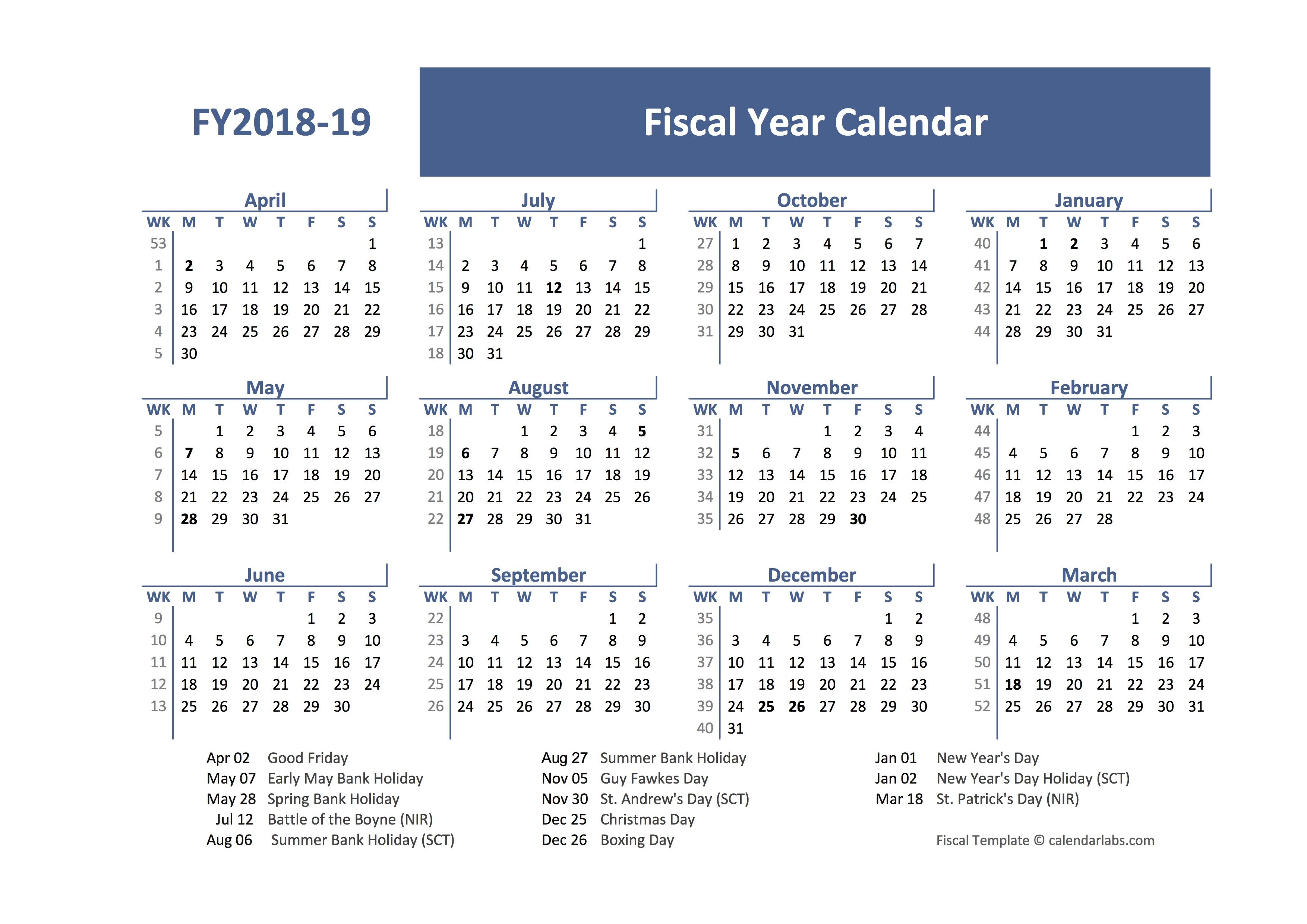 2018 Fiscal Year Calendar Template UK - Free Printable ...
