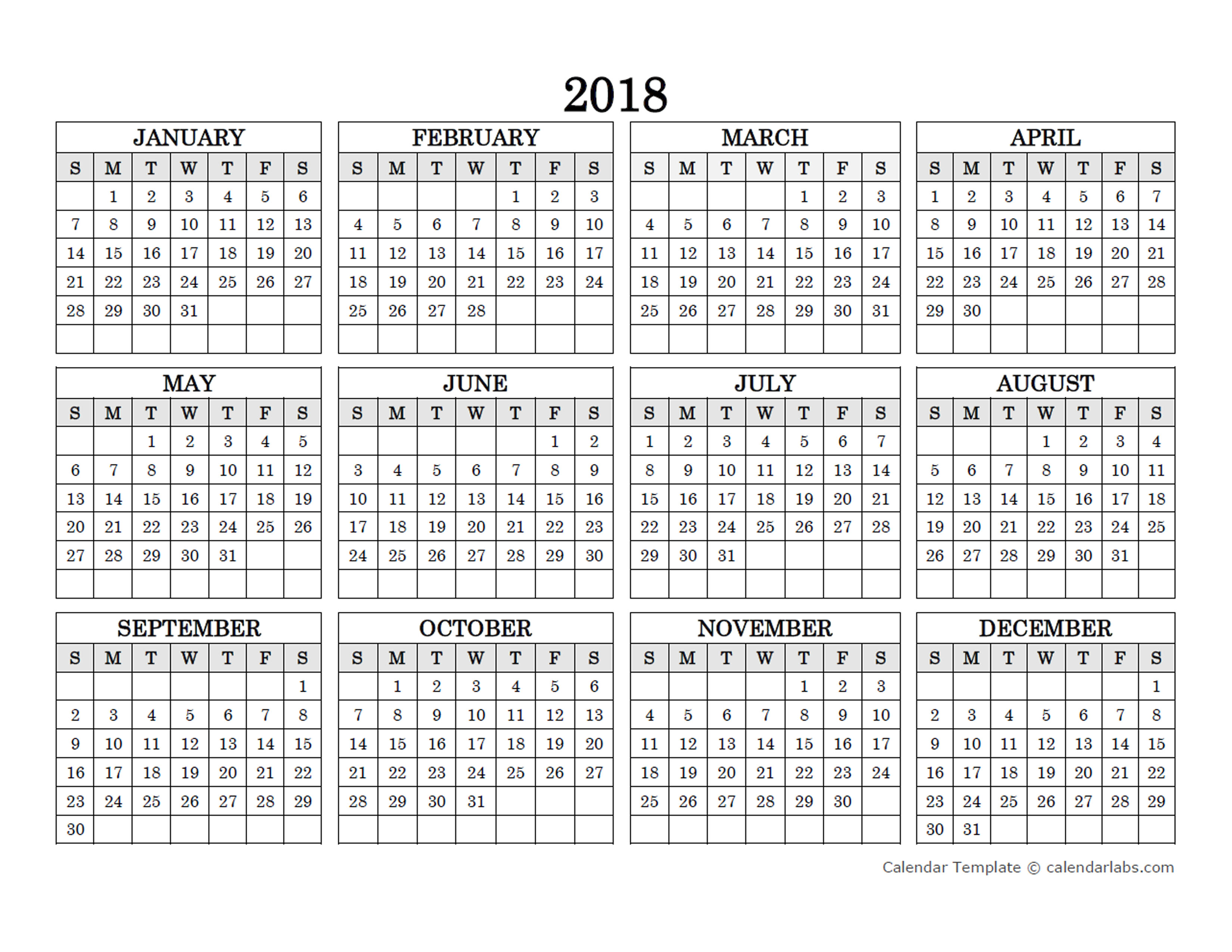 2018 blank yearly calendar landscape