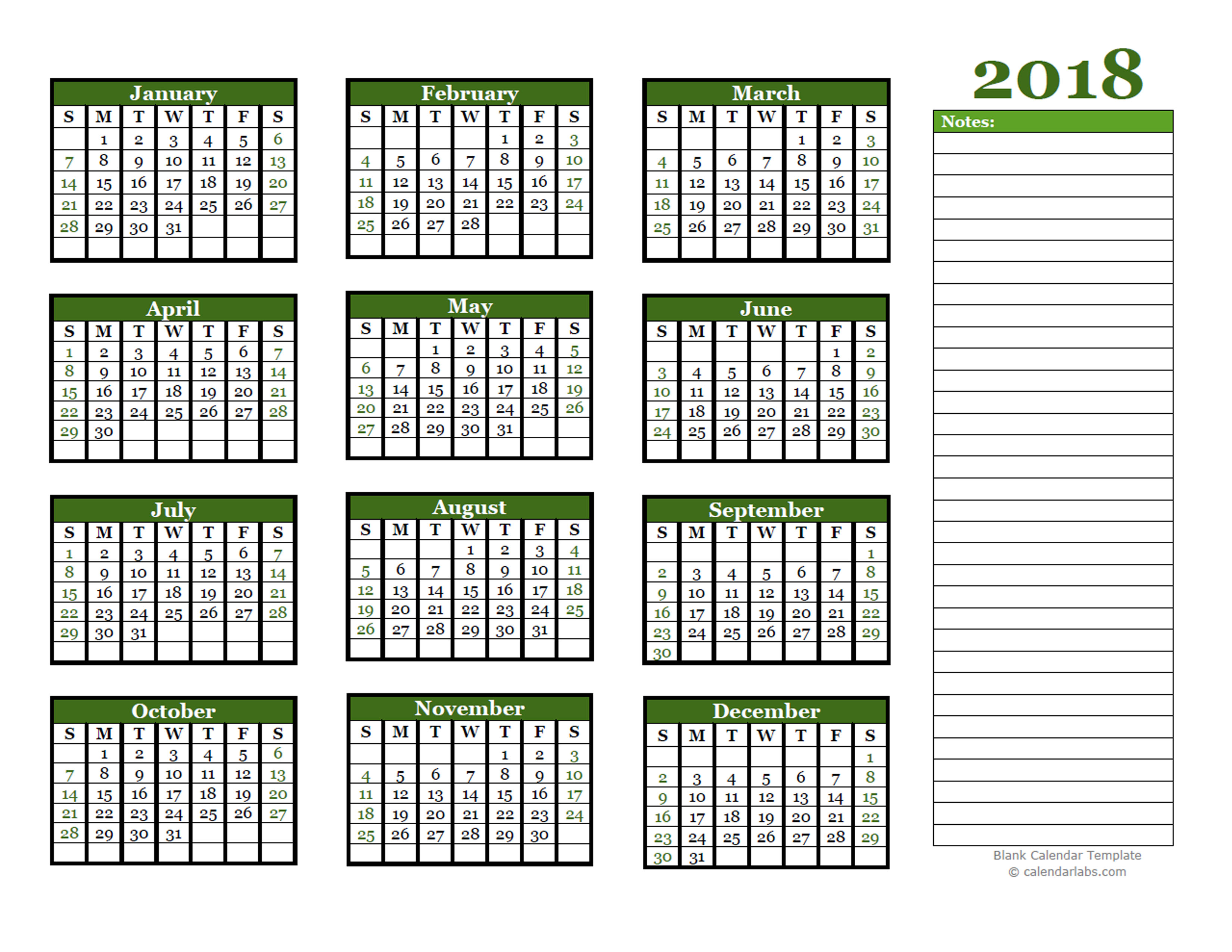 Blank Calendar 2018 With Lines