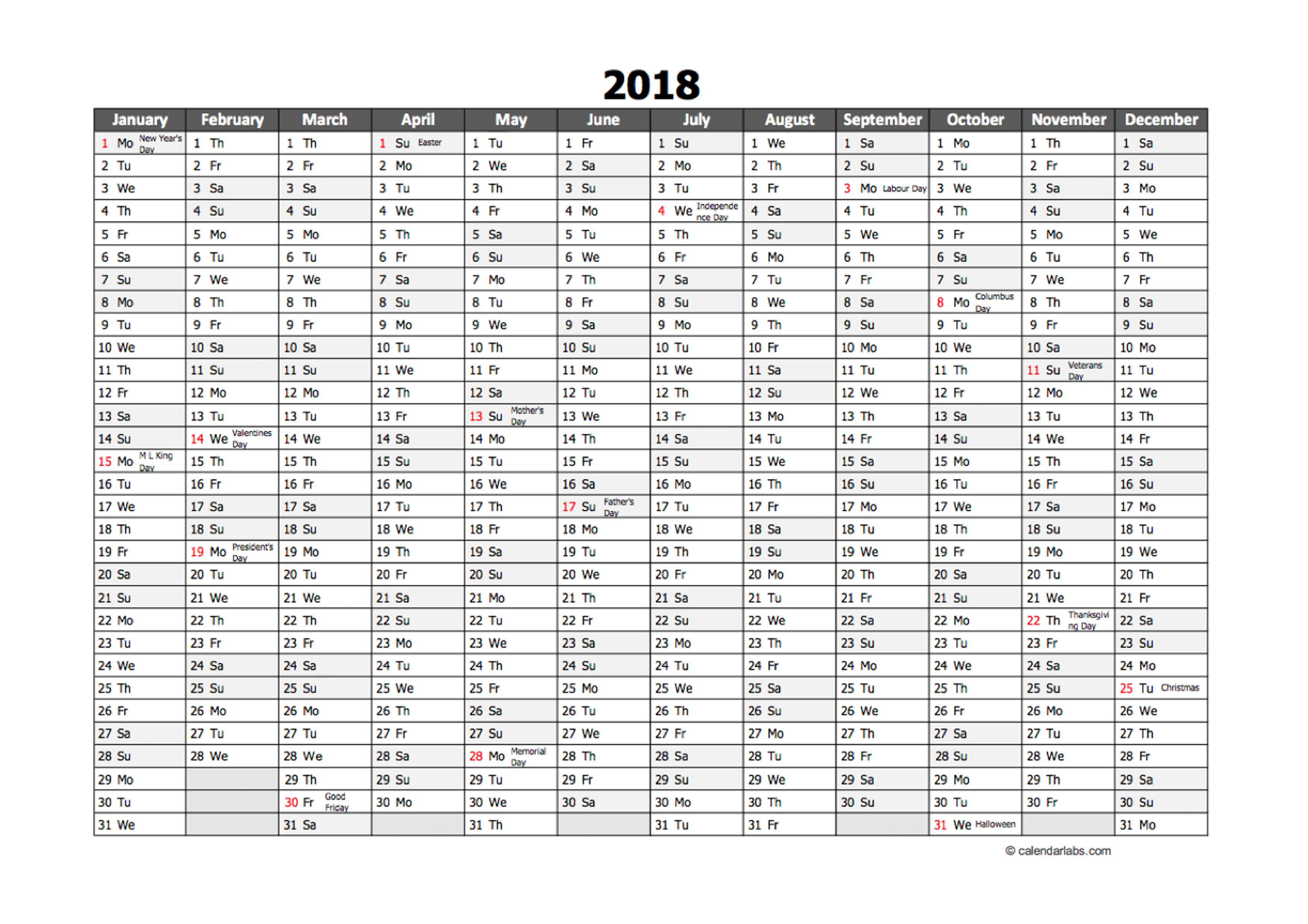 editable 2018 yearly excel scheduling calendar free. Black Bedroom Furniture Sets. Home Design Ideas